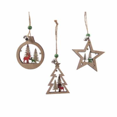 Lot de 3 Décorations de Noël en Bois 3D - 14 cm
