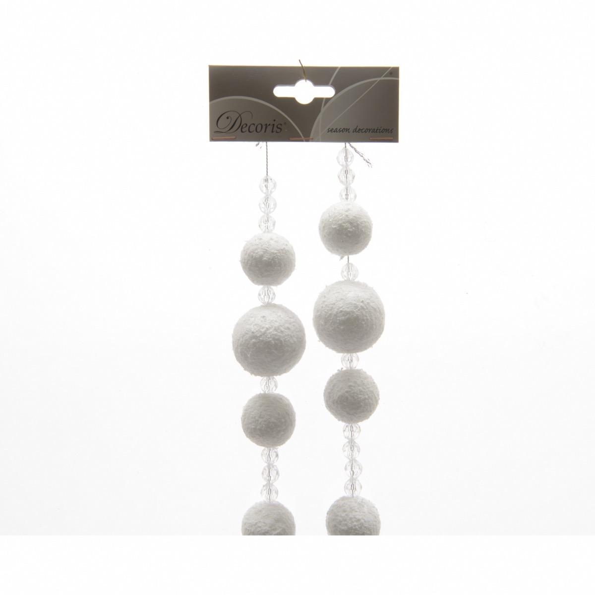 Guirlande Boule De Neige Et Perles 180 Cm Décoris