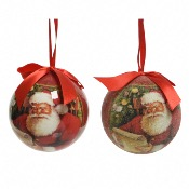 Lot de 2 boules Père Noel Assorties à suspendre, Décoris