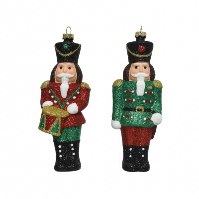 Lot de 2 Figurines Casse Noisette Rouge et Vert 16,5 cm
