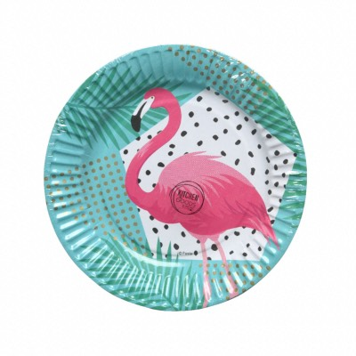 Lot de 6 Assiettes Jetable Flamant Rose diam 23 cm - Décoris